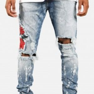 Golden Men's Union Madrid Rose Patch blue  jeans